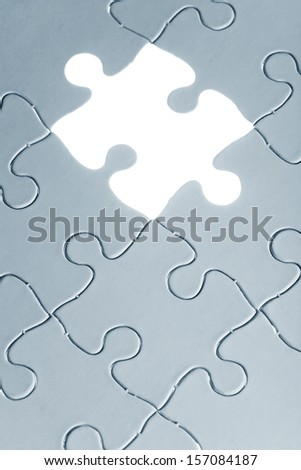 Blue Blank Puzzle, business concept of Solution