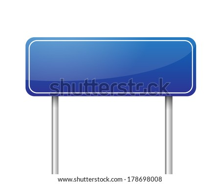 Blue blank road sign