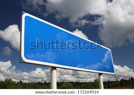 Blank Road Sign Board Blue Blank Road Sign on Sky