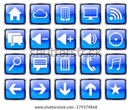Blue blank square phone phone icon buttons set