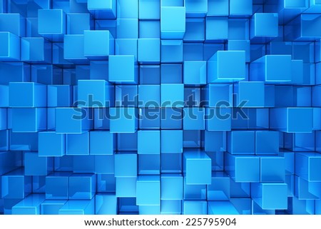 Blue blocks abstract background - stock photo