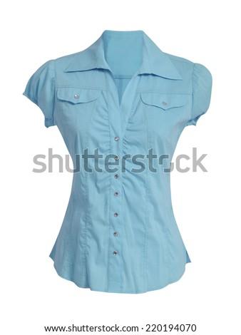 blue blouse isolated on white - stock photo