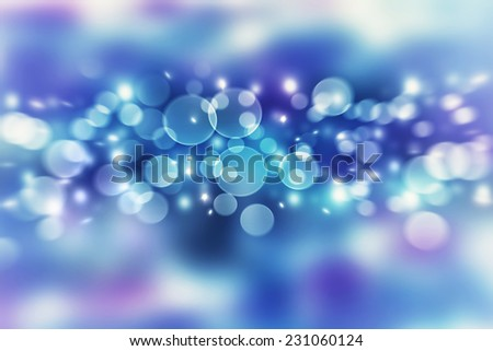 Blue blur bokeh background, abstract defocused lights, festive wallpaper, Christmas time greeting card, New Year celebration concept  - stock photo