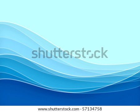 Blue blurry waves and curved lines background - stock photo