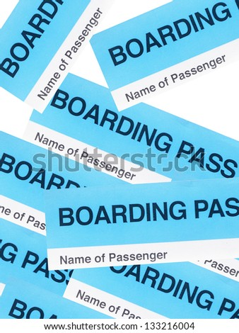 Blue boarding  passes  isolated on white background