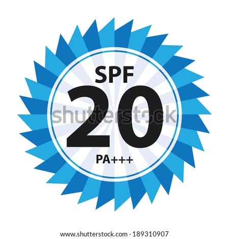 Blue Body and Skincare SPF 20 PA+++ Sunscreen Icon, Sticker or Label Isolated on White Background