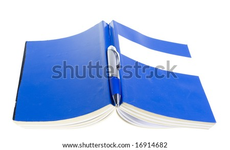Blue book. Space for text. - stock photo
