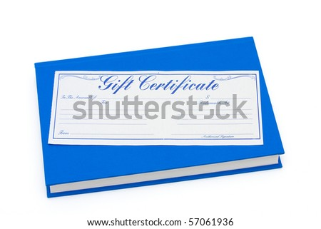 Blue book with a gift certificate isolated on white, Gift of money for education