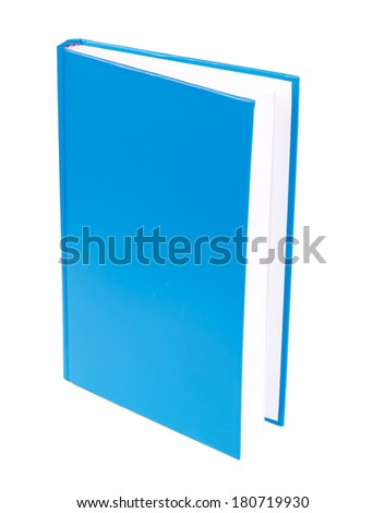 Blue book with blank hardcover standing isolated on white background