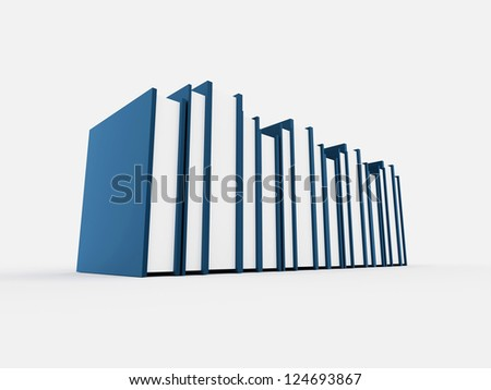 Blue books concept isolated on white background