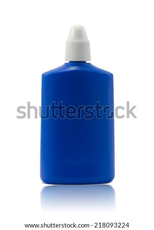 Blue bottle on isolated white background. - stock photo