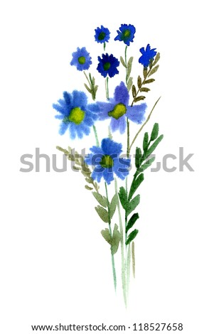 Blue Bouquet of watercolor flowers isolated on a white background - stock photo