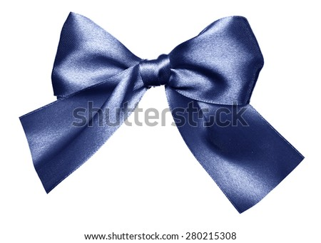 blue bow made from silk isolated - stock photo