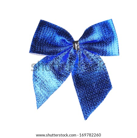 Blue bow made of ribbon. Isolated on a white background.