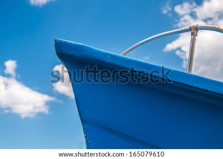 Blue bow of a fishing boat in the south of italy