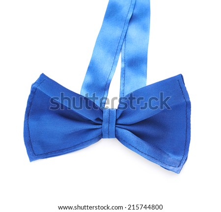 Blue bow tie isolated over the white background