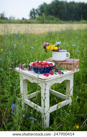 Blue bowl with raspberries, old book and cup with field flowers on the rustic white chair .