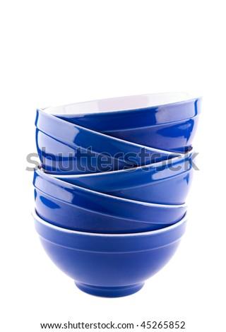 Blue bowls on white background - stock photo
