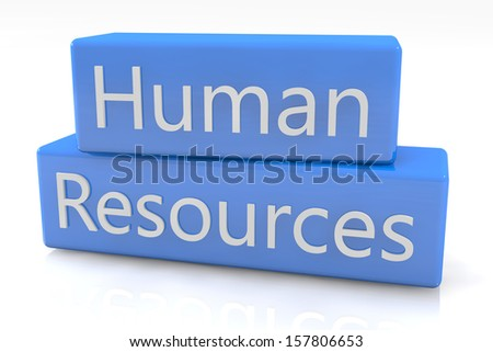 Blue box concept: Human Resources on white background