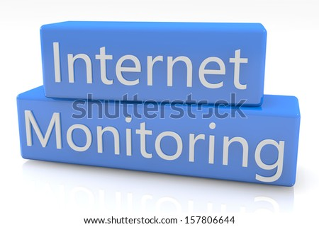 Blue box concept: Internet Monitoring on white background