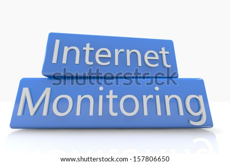Blue box concept: Internet Monitoring on white background - stock photo