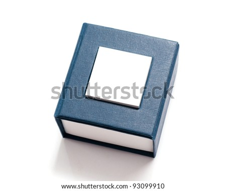 Blue box for jewelry - stock photo