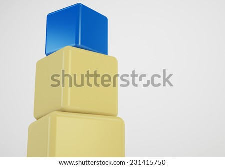 blue box showing leader, 3d cubes stack concept - stock photo