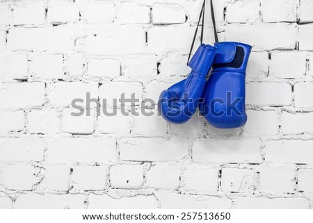 blue boxing gloves - stock photo