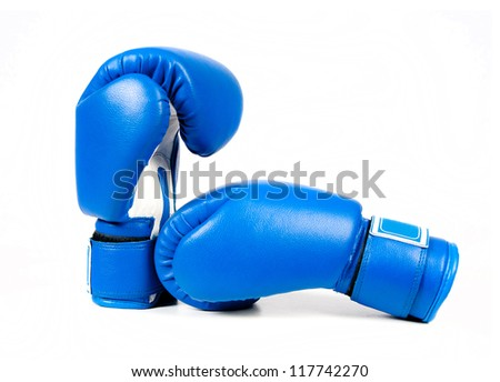 Blue boxing gloves isolated on white background - stock photo