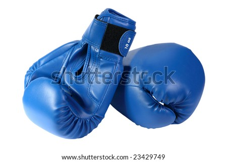 blue boxing-gloves on a white background - stock photo