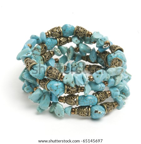 Blue bracelet  with turquoise - stock photo