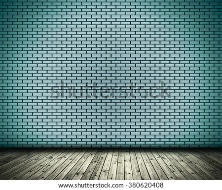 Blue brick wall and wood slabs arranged in perspective texture background. - stock photo