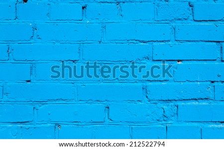 Blue Brick Wall Background - stock photo