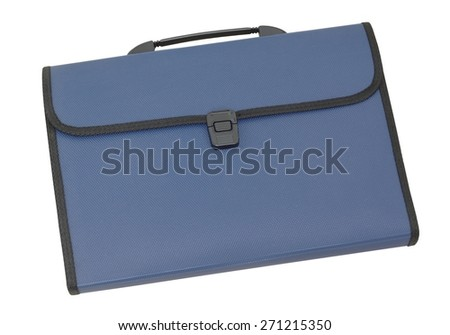 Blue briefcase style file folder - stock photo