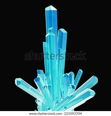 blue bright crystals isolated on black - stock photo