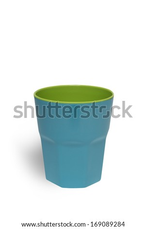 Blue bright plastic cup isolated on white background with clipping path