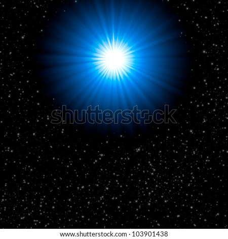 Blue bright star on space