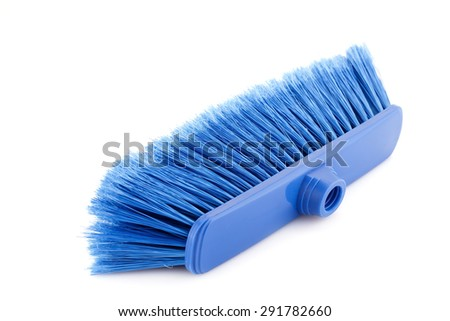 Blue broom isolated on white background. - stock photo