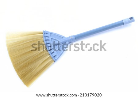 Blue Broom on white background