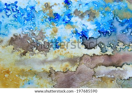 Blue Brown and Ochre Watercolor  - stock photo