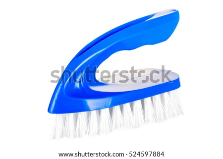 blue brush for cleaning house close-up isolated
