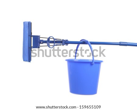 Blue bucket on mop with sponge. Isolated on a white background.