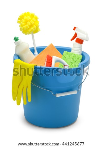 Blue Bucket with Cleaning Supplies Isolated on White Background.