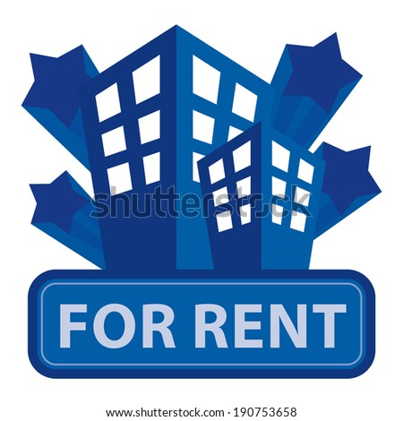 Blue Building, Apartment or Office For Rent Icon or Label Isolated on White Background - stock photo