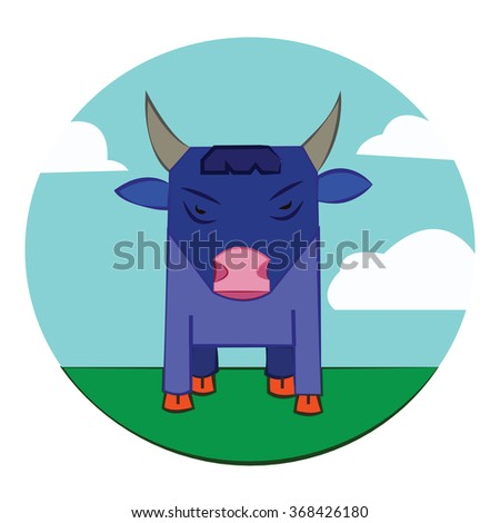 Blue Bull with Horns standing in the green field. Sky with clouds summer landscape. Farm animal in the countryside. Round Icon. Digital raster illustration. - stock photo