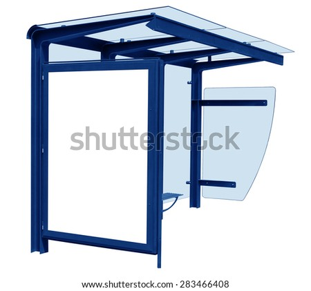 Blue bus stop isolated on white background with blank banner. Clipping path included.