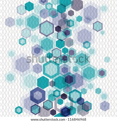 Blue business abstract geometrical background with vertically arranged hexagons and nets. Raster version of the vector image - stock photo
