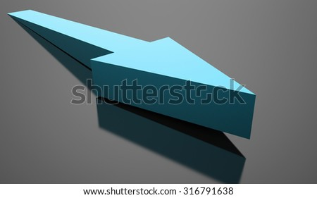 Blue business arrow concept background rendered