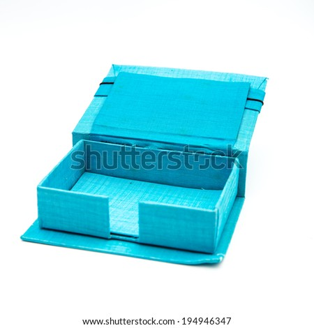 Blue business card box on white