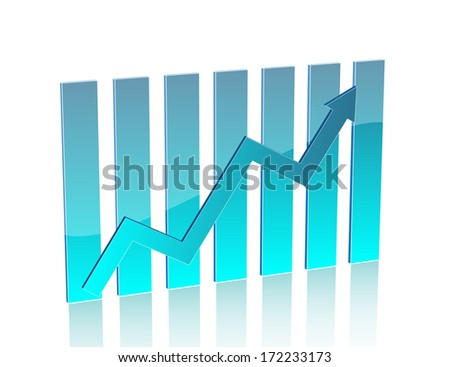 Blue business chart with arrow